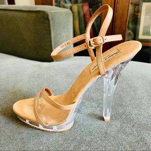HELEN's HEART nude clear acrylic heels!!